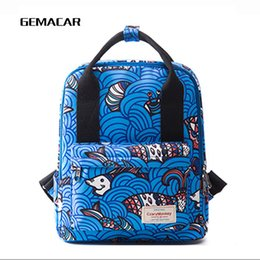 Wholesale Fashion Color Large Capacity Printing Backpack Personality Square Student Backpack Oxford Cloth Travel Bag Computer Magazine Bag