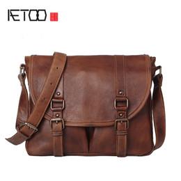 Men cowboy bag online shopping - AETOO Retro to do the old planted tannage cowboy men bag shoulder Messenger handmade original leather British postman package