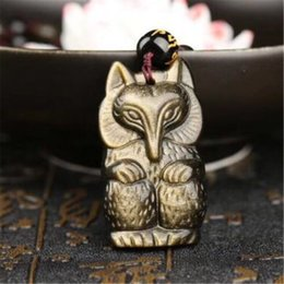 Fox Face Pendant Australia - Fine Jewelry Natural Gold Obsidian Carved Pretty Fox Lucky Amulet Pendant + Beads Necklace Free Shipping