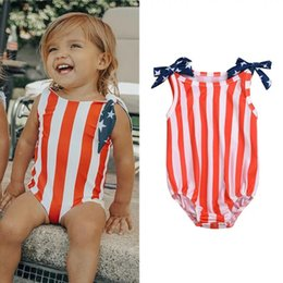 Discount toddlers christmas onesies - INS Independence Day Designer Toddler Baby Girls Rompers Red Blue Stripes Belt Sleeveless Newborn Bodysuits Summer Baby
