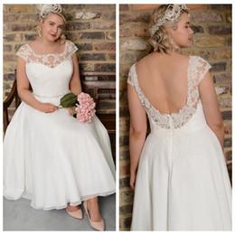 $enCountryForm.capitalKeyWord Australia - Vintage Lace Plus Size A Line Wedding Dresses Scoop Cap Sleeve Applique Chiffon Beach Bridal Gown Ankle Length Wedding Gowns