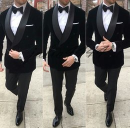 Cheap Black Suits For Men Australia - Classy Black Wedding Mens Suits Slim Fit Bridegroom Tuxedos For Men Two Pieces Groomsmen Suit Cheap Formal Business Jackets With Tie