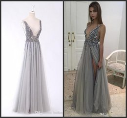 Dress Real Australia - 2019 New Real Image Thigh Split Evening Dresses Plunging Neckline Appliques Backless Prom Gowns Floor Length Tulle Evening Party Dress 193