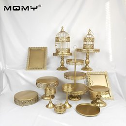 Wholesale Gold Wedding Dessert Tray Cake Stand Cupcake Pan Party Supply Set white Lace cake decoration plate Cake dish
