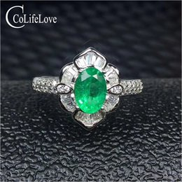 Silver Emerald Jewelry Australia - 925 silver emerald ring 5 mm * 7 mm real natural emerald silver ring flower design 925 silver emerald jewelry girl gift