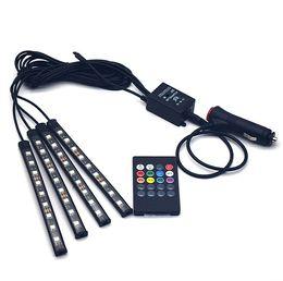 $enCountryForm.capitalKeyWord UK - Universal Wireless Remote Control Car RGB 9 LED Neon Interior Light Lamp Strip Decorative Atmosphere Lights Car Styling 7 colors