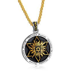 $enCountryForm.capitalKeyWord Australia - Classic Gold Stainless Steel St. Angel Guard Round Pendant Necklace Men's Punk Cool Hexagon Star Necklace Jewelry Gift 3-GX1368