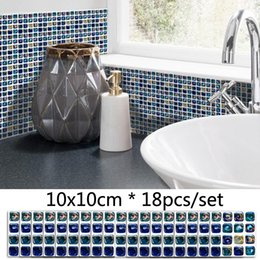 Furniture Wall Stickers Australia - 3D Blue Mosaic DIY Wall Sticker Bathroom Decor Waterproof Tile Stickers Kitchen Self Adhesive Oil Proof Background Decals Furniture Sticker