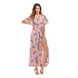 78676e431 new Women Dresses V-neck Short-sleeve Split Flower Dresses Lady Summer  Vacation Beach Skirt Girl Casual Bohemian Chiffon Long Dresses