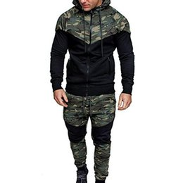 Wholesale men camouflage suit jacket resale online – Designer Stylish Bar Men TrackSuit Hooded Jacket Sweatsuit Sports Suits New Sportwear Men s Jogger Set Camouflage Tracksuit Men Clothes
