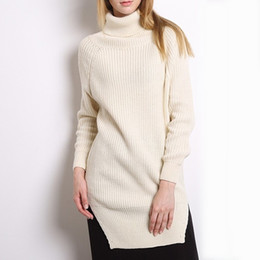 45eac44eac Turtleneck Knitting Sweater For Women Long Sleeve Side Split Casual  Pullover Female Fashion Jumper 2019 Clothes New