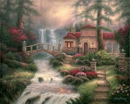 seascape canvas prints NZ - Thomas Kinkade Landscape Oil Painting New Horizons Seascape Canvas High Quality Reproduction Prints on Canvas Modern Wall Home Art Decor