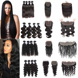 Discount lace frontal bundles brown ombre hair - Malaysian Straight Body Wave Remy Virgin Hair Bundles With Lace Closure Peruvian Deep Water Wave Loose Deep Cheap Hair W