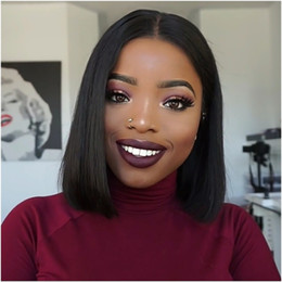 long straight dark brown wigs Australia - Short Bob Brazilian Human full lace Hair Wigs silky straight with Baby Hair pre plucked Lace Front Wigs For Black Women long lasting