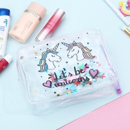 Piece Cosmetic Bag Wholesale Australia - Women Portable Unicorn Cosmetic Bag Lady Waterproof Travel Storage Bag Unicorn Transparent PVC Makeup Bag 100 Pieces DHL