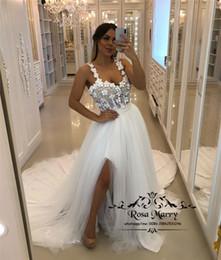 $enCountryForm.capitalKeyWord Australia - Sparkly Beaded Plus Size Wedding Dresses 2020 A Line 3D Floral Vintage Lace 3D Floral Country Beach Split Vestido De Novia Bridal Gowns