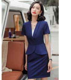 Work Suits Styles Australia - Summer Formal Women Skirt Suits Navy Blue Blazer and Jacket Sets Ladies Work Wear Business Office Uniform Styles