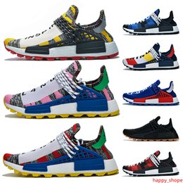 trail trainers UK - 2019 Pharrell williams Human Race Shoes for Men Women Trail Infinite Species BBC Blue Red Green Plaid Solar Pack Designer Trainers Sneakers