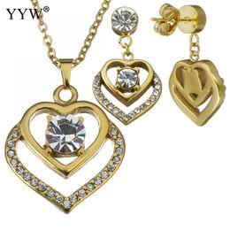 $enCountryForm.capitalKeyWord NZ - Fashion Stainless Steel Jewelry Sets Trendy Earring & Necklace Heart