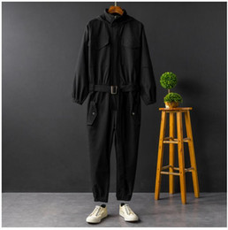 hooded jumpsuit green Australia - Jumpsuit Men Rompers One Piece Overalls Mens Long Sleeve Hooded Cargo Casual Streetwear Pants Trousers Male Plus Size XXXL