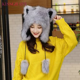 ear flap beanies Australia - Winter Fox Fur Caps Women's Warm Caps Hats with Cat Ears Ladies Cute Caps Beanies with Ear Flaps Kids Warm Party Cap Female