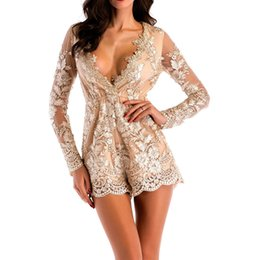 ea9e1033ce Sexy Women Deep V Neck Summer Jumpsuit Mesh Long Sleeves Embroidery Bodysuit  Body Feminino Elegant Playsuit Overalls Clothes