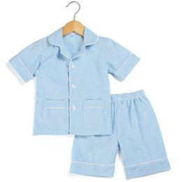 cotton seersucker NZ - Cotton Stripe seersucker Summer Pajamas sets stripe boutique home sleepwear for kids 12m-12years button up pjs Y200704
