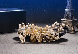 $enCountryForm.capitalKeyWord Australia - Exquisite Gold Flower Hair Combs For Bride Rhinestones Pearl Wedding Headdress Hair Jewelry Crystal Hair Accessories Trombone
