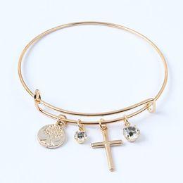 $enCountryForm.capitalKeyWord UK - Adjustable Crystal Cross Bracelets Tree of Life Pendant Bracelet Alloy Charm Wire Bangles