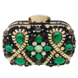 $enCountryForm.capitalKeyWord Australia - Green Emerald and Black Beaded Women Evening Clutch Wedding Party Dinner Handbags and Purses Chain Shoulder Bag