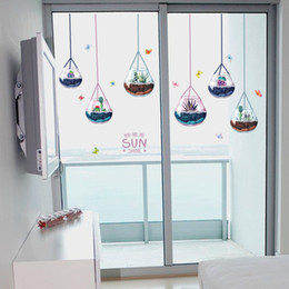 3d Window Wall Stickers Australia - 3D Hanging Potted Plants Wall Stickers For Kids Rooms Home Decor Bathroom Window Wallpaper Self-adhesive PVC Art Mural Poster