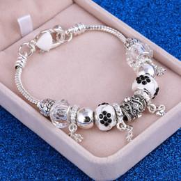 Tibetan Silver Bracelet Bangle Australia - European Style Authentic Tibetan Silver Black Crystal Charm Bracelets for Women DIY Jewelry Gift Wholesale Bracelets Bangles