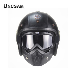 Free m helmet online shopping - A PU Leather Off Road Retro Men s Motorcycle Helmet Open Face Mask Detachable For Haley