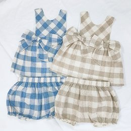 Designs Girls Shirts New Australia - New Baby kids Clothing Two Piece Sets Plaid With Two Bow Design Sleeveless Shirt + Short Girl Summer Lolita Clothing Sets