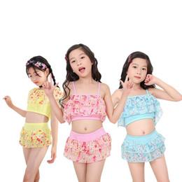 Little Children Straps Australia - Kids Girl Swimwear Summer Little Girl Swimsuit Straps Floral Print Tops Skirt Shorts Kid Children Swimsuits Set