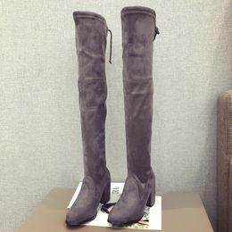 $enCountryForm.capitalKeyWord NZ - 2018 autumn new over-the-knee stretch boots fashion plus velvet slim cotton boots women's gray 0110