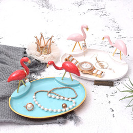 pendant display trays NZ - [DDisplay]Zinc Alloy Flamingo Pendant Jewelry Display Tray Personalized Blue Bracelet Display Holder Exquisite White Earrings Display Stand