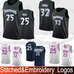 Embroidery Minnesota 22 Wiggins Andrew Timberwolves Jersey 23 Butler Jimmy  25 Rose Derrick 32 Towns Karl-Anthony Stitched Jersey da0a48867