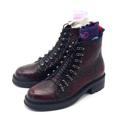 Selling high heel ShoeS online shopping - High Top Wine Red Boots Genuine Leather Lace up Men s Fall Winter Martin Boots Man Shoes Hot Selling