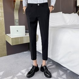 weddings dress pants Canada - 2020 Spring Men Suit Pants Wedding Dress Pants Crown Embroidery Casual Business Office Social Trousers Pantalon Homme Classique