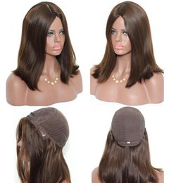 long straight dark brown wigs Australia - Kosher Wigs 12A Grade Light Brown Color #4 Finest European Virgin Human Hair Straight 4x4 Silk Base Jewish Wig Fast Free Shipping