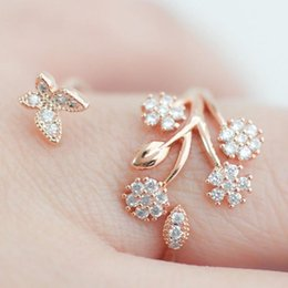 Rose Leaf Gold Plated Australia - Fashion Rose Gold Sliver Color Open Ring Creative Leaf Branch Ring Alloy Jewelry For Woman Girl Fashion Jewelry