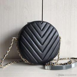 $enCountryForm.capitalKeyWord NZ - 2018 NEW women circular Coin clutch Chevron Ladies calfskin Genuine Leather lambskin V grid Cross Body classic shoulder casual Makeup bag