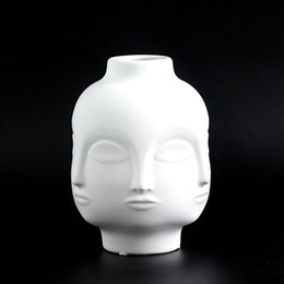 European Creative Matte Cold Double Sided Ceramic Human Face Vase Artificial Flower Arrangement Desk Pot Home Dining Table Vase Home Decor Vases