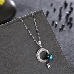 moon star crystal necklace NZ - Fashion-European and American Pure Silver 925 Star Moon Swarovski Crystal necklace