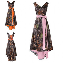 prom dresses cheap prices NZ - Camo hi lo Cheap Bridesmaid Dresses 2020 V neck Ribbon Bows Orange Pink Inner Satin Wedding Guest Prom Formal party Dress Wholesale Price