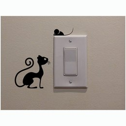 Large mouse waLL stickers online shopping - Cat And Mouse Switch Stickers Vinyl Living Room Kitche Decor Fashion Personalized Decorated Modern Home Accessories Home Decal Children Room