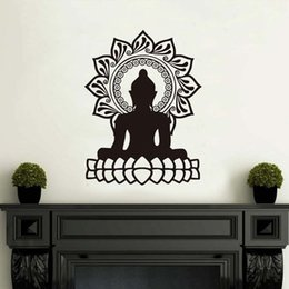 lotus flower designs NZ - 1 Pcs Indian Design Lotus Flower Wall Stickers Home Decor Buddha Silhouette Wall Decals livingroom Vinyl Art Removable Wallpaper