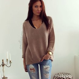 Jumpers Tops Ladies Australia - New Fashion Women Clothes Sweater Pullover Casual Acrylic Jumper Knitshirt Tops one pieces Ladies Fall Hollow V-Neck Loose