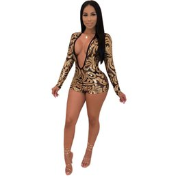 a54fe08bb42 new women long sleeve mesh see though sequins leaf gold deep v-neck sexy  skinny shorts jumpsuits night club romper playsuit